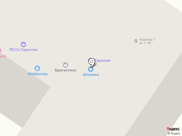 Бригантина на карте Тельманы