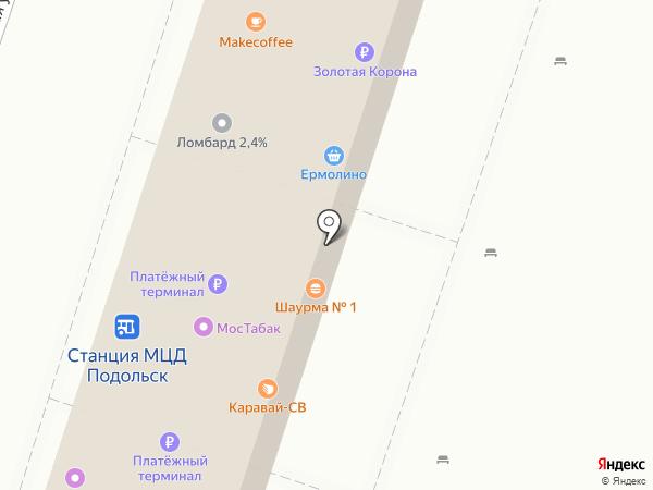 Киоск фастфудной продукции на карте Подольска