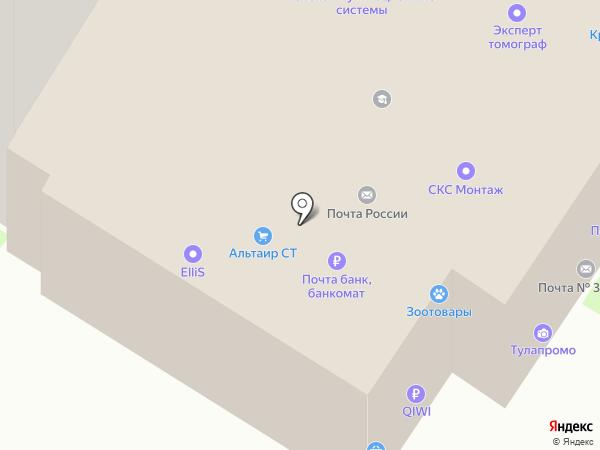 У почты на карте Тулы