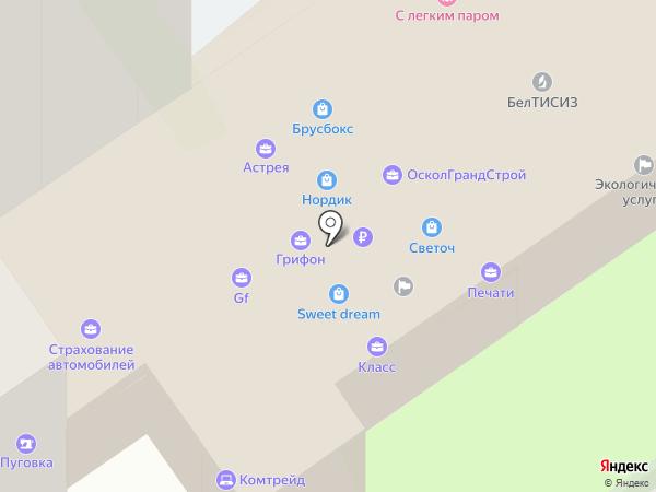 Сплайн на карте Старого Оскола