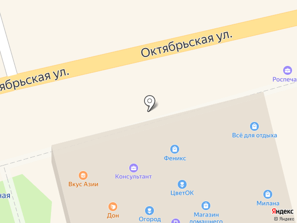 Магазин цветов на Октябрьской на карте Донского