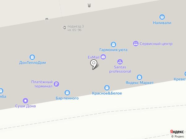 Продуктовый магазин на бульваре Комарова на карте Ростова-на-Дону