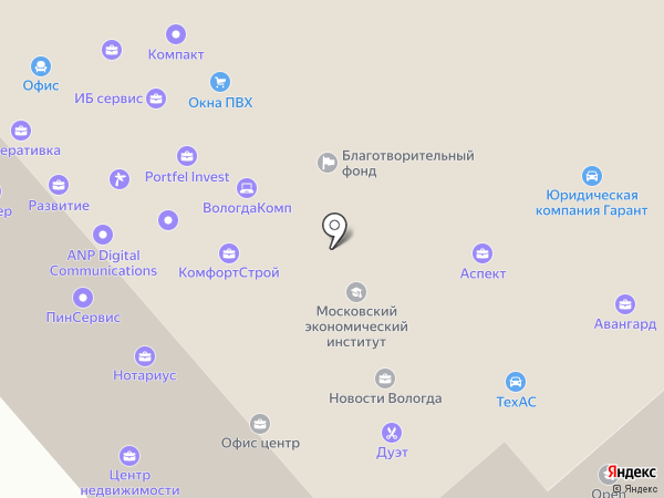 Премьер на карте Вологды