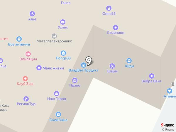 1С сервис на карте Владимира