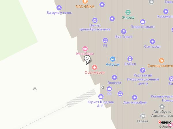 Автобусы Поморья на карте Архангельска