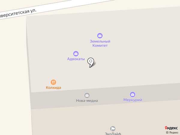 Меркурий на карте Пятигорска