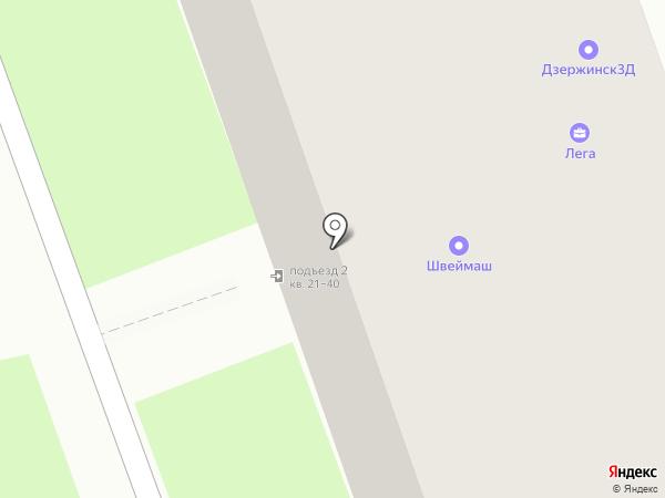 Лега на карте Дзержинска