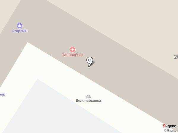 Здоровёнок на карте Нижнего Новгорода
