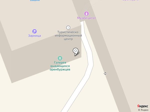 Оренбургский пуховый платок на карте Оренбурга