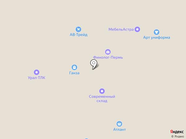 Сеть столовых на карте Перми