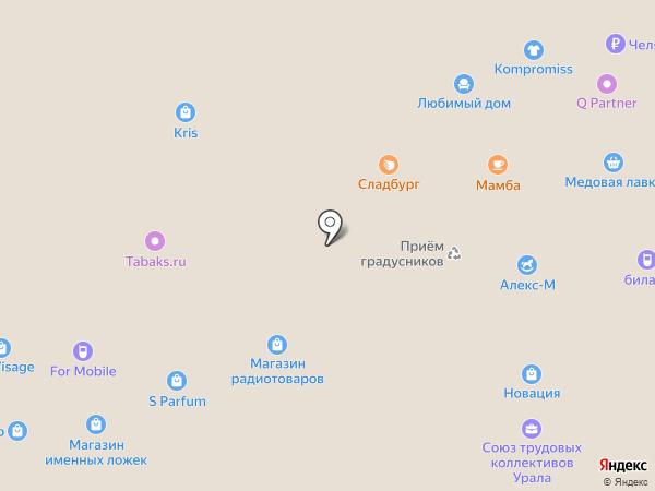 Мамба на карте Миасса