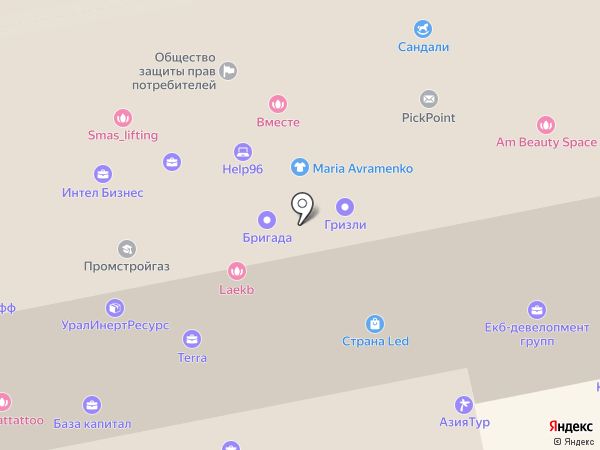 Пегас на карте Екатеринбурга