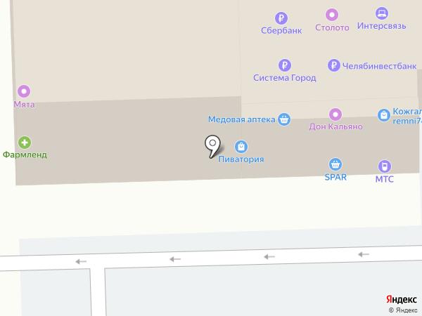 Деревенский дворик на карте Челябинска