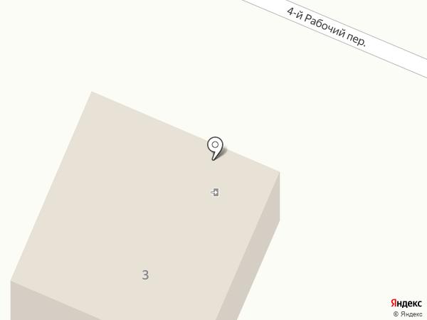 Продуктовый магазин в Рабочем 4-м переулке на карте Старобачатов