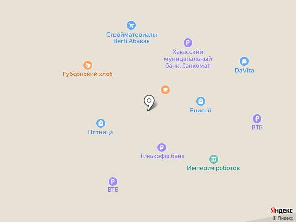 Енисей на карте Абакана