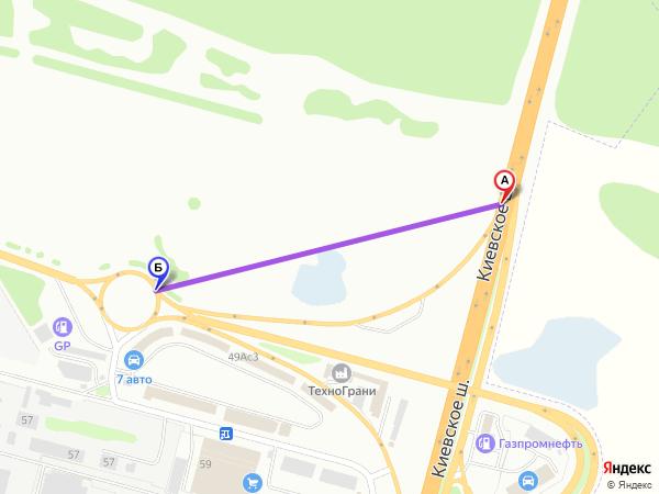 съезд направо 500м за 1мин