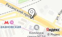 Автостоянка на Рязанском проспекте на карте