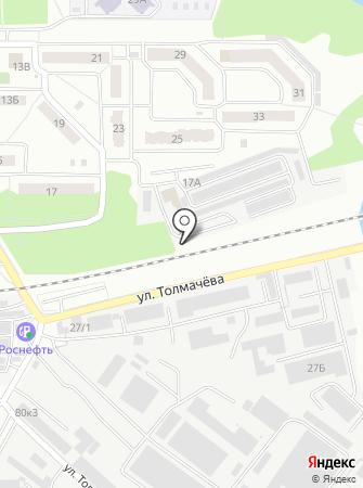 Автостоянка на ул. Толмачёва на карте