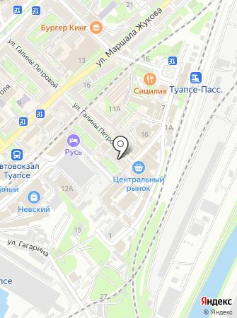 Магазин одежды и обуви на ул. Галины Петровой (г. Туапсе) на карте