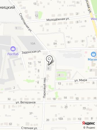 Продуктовый магазин в Парковом переулке на карте