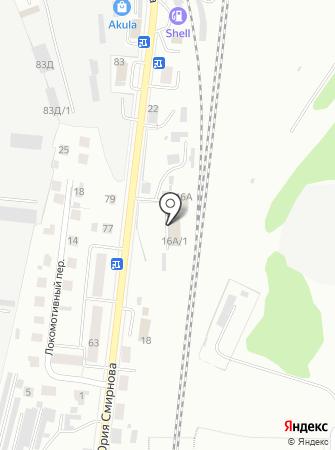 Автокомплекс на ул. Юрия Смирнова на карте