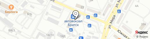 Киоск по изготовлению ключей и ремонту обуви на карте Братска