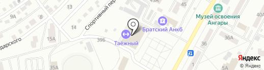 Таежный на карте Братска