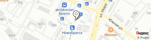 Киоск по продаже фастфудной продукции на карте Братска