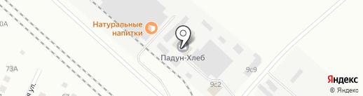 Падун-Хлеб на карте Братска