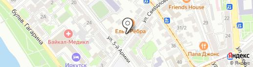 Окна на Свердлова на карте Иркутска