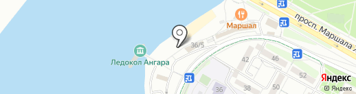 Каток у ледокола Ангара на карте Иркутска