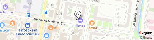 Магазин тканей на карте Благовещенска