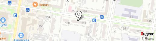 Цирюльня на Амурской на карте Благовещенска