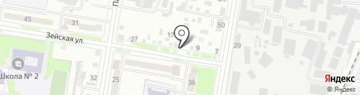 Теплая автостоянка на карте Благовещенска