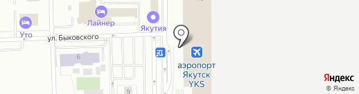 Аэропорт Якутск на карте Якутска