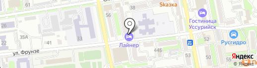 Лайнер на карте Уссурийска
