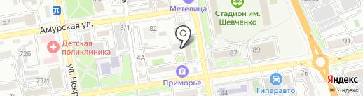 Заря на карте Уссурийска