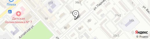 Теплая автостоянка на карте Комсомольска-на-Амуре