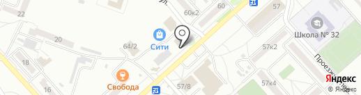 Киоск по продаже полуфабрикатов на карте Комсомольска-на-Амуре