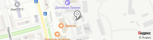 Автодворъ Конюшня на карте Комсомольска-на-Амуре