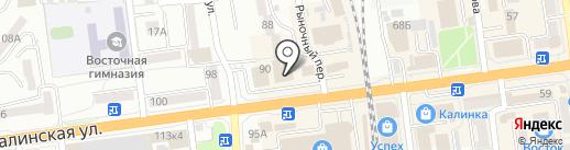 Суйфеньхэ на карте Южно-Сахалинска