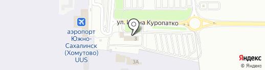 Аэропорт на карте Южно-Сахалинска