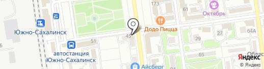 Звезда на карте Южно-Сахалинска