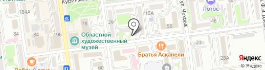 Гермес на карте Южно-Сахалинска