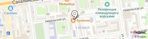 Арлекин на карте Южно-Сахалинска