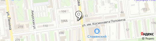 Золотые ножницы на карте Южно-Сахалинска