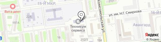 Сахалинский техникум сервиса на карте Южно-Сахалинска