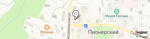 Магазин молочной продукции и колбасных изделий на карте Пионерского