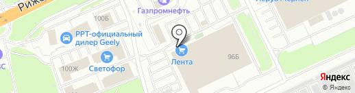 Банкомат, АКБ РОСБАНК на карте Пскова
