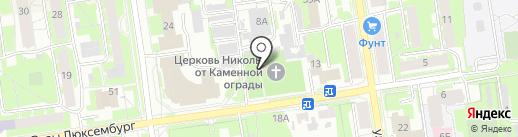 Церковь Николы от Каменной ограды на карте Пскова